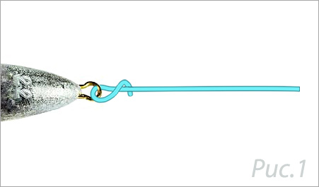 схема плетения узла клинч шаг1